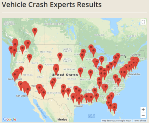 Accident reconstruction expert directory map